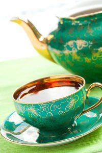 the tea in antique porcelain mug